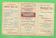 #D472. 1900 Queensland V Nsw Intercolonial Rugby Union Program