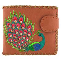 Lavishy Divine Peacock Peacock Feather Embroidery Vegan Medium Bi-fold Wallet