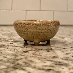 Vtg Shohin, Bonsai Succulent Pot Japanese Speckled Glaze Drain Hole Sm Planter