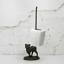 Standing Cat Toilet/Kitchen Roll Holder Cast Iron Novelty Free Standing Gift
