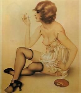 """Vintage Alberto Vargas Original """"Smoke Dreams"""" Art Nouveau Book Plate Print"""
