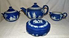 ANTIQUE WEDGWOOD JASPER WARE TEA SET,DARK BLUE,COLLECTIBLE.