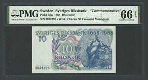 Sweden 10 Kronor 1968 P56a Commemorative Uncirculated Grade 66