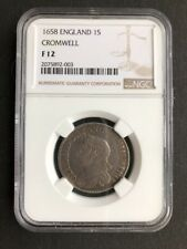 1658 CROMWELL ONE SHILLING GRADED NGC FINE12