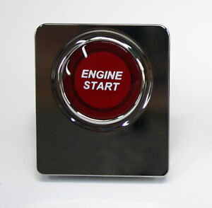 SilverHorse Racing Illuminated Engine Start Button for 10-14 Mustang-Red/Chrome