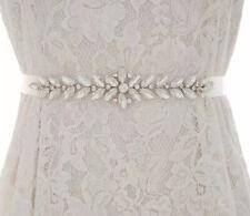 Off White Satin Ribbon & Crystals Belt Wedding 💍Bridal Belt