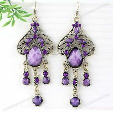 2x Lady Vintage Bronze Purple Crystal Drop Resin Dangle Chandelier Earrings Hot