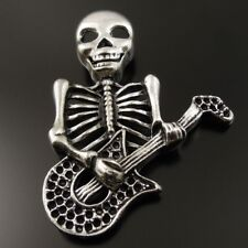 8Pcs Antiqued Silver Tone Gothic Skull Playing Guitar Pendant Charm 37120