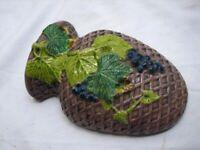 Vintage Porcelain Grape Leaf Basket Wall Pocket Majolica Glazed Art Pottery