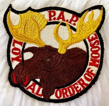 Vintage 70s PAP LOYAL ORDER OF THE MOOSE Fraternal Fraternity Embroidered Patch