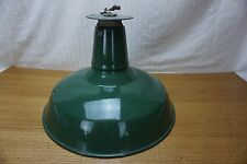 "Vintage Green Porcelain Enamel Light Fixture Flush Mount 14"" Industrial ***NOTE"