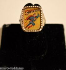 Rare SUPERMAN FLICKER FLASHER RING Vari-Vue 1959-1963 Rope Base FLYING & HEAD
