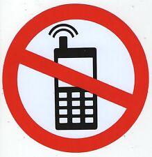 AUTOCOLLANT STICKER INTERDIT DE TELEPHONER TELEPHONE PORTABLE DIAMETRE 10 CM