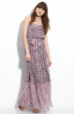 Charlie Jade Floral Print  Red/Gray Maxi Silk Maxi Dress Size S/P NWT