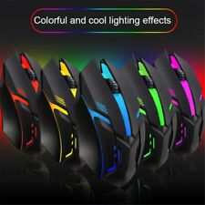 MOUSE LED RGB DA GIOCO OTTICO LUCE CON FILO CAVO USB GAMING GAME GAMER UFFICIO