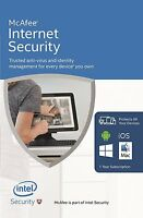 McAfee Internet Security 2016/2017 1 Year 3 User PC Anti Virus Software RRP £50
