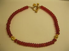 "Vintage Signed Karl Lagerfeld Gold Tone Red Glass Bead Necklace 18"" Long"