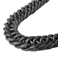 18mm Men Teens Black Large Stainless Steel Curb Link Chain Necklace or Braclet