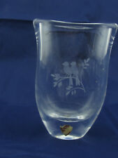 "Orrefors Sweden 4 1/2"" Etched Love Birds Bird Vase #3867"