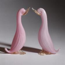 Elegant Vintage Murano Art Glass Pink Latticino Ducks X 2