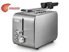 TOASTER 2 SLICES WITH PLIERS 500W CHROME WITH COLLECTOR CRUMBS CTX2203 DELONGHI
