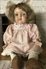 "ANTIQUE 1920'S UNMARKED 20"" COMPOSITION AND CLOTH BABY DOLL SLEEPY EYES TEETH"