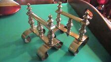 Antique English Brass Fire Dogs - Pair - Victorian Era