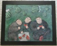 MYSTERY ARTIST PAINTING ABSTRACT MODERNISM BIRD PEOPLE EATING WATERMELON ARDY???