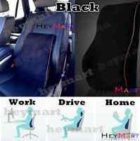 BLACK MEMORY FOAM LUMBAR BACK NECK SUPPORT CAR TRUCK SEAT TRAVEL CUSHION PILLOW