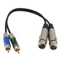 Multimedia 2-XLR Femmina a 2-RCA Maschio Patch Audio HD Cavo Adattatore P4B1