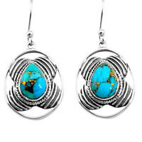 6.04cts Blue Copper Turquoise 925 Sterling Silver Dangle Earrings Jewelry P77570