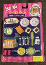 "Barbie Cooking Magic Makin' Breakfast with Color Change ""Magic"" NEW Eggs Waffle"