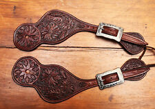 Ladies Beautiful Carved Handmade Cowboy Spur Straps By Pappas