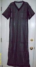 """BLACK SHEER NYLON CAFTAN LOUNGE DRESS * 48"""" Chest * 60"""" Length* Men Women Large"""