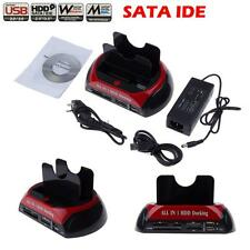 "New Dual 2.5""/3.5"" ide sata Hdd hard drive disk dock docking station all in 1 EU"