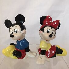 Vintage Disney Production Mickey and Minnie Mouse Ceramic Figurines
