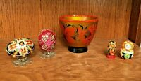 Lot of 5 Vintage Russian Folk Art Wooden Lacquer Items Eggs, Bowl, Dolls