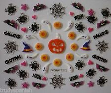 Halloween 3D Nail Art Stickers Neon Ghosts Spider Webs Bat Pumpkin Witch (Y121)