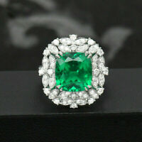 14K White Gold Finish 4Ctw Cushion Cut Emerald & Diamond Cluster Wedding Ring