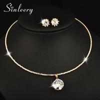 Women Fashion Round Zircon Choker Collar Necklace Earrings Set Gold/Silver Tz413