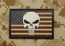 USA US Punisher Flag PVC Glow In Dark GITD Morale Patch Old Glory Patriot