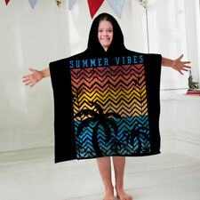 Kids Hooded Towel Poncho Summer Vibes Design Childrens Bathrobe Swim Bath Sun