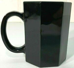 Arcoroc Black Octagon Ceramic Coffee Mug Cup France 8 Sided Vintage