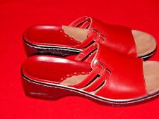 Women's Clarks Red Leather Slip On Mules Size 7