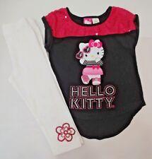 2pc lot Hello Kitty Top Shirt Capri Leggings Blk Pnk Clothes Outfit Girls 4/5 XS