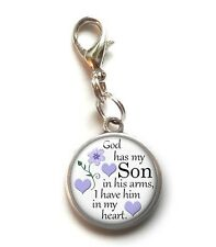 Clip On Charm God Has My SON In His Arms Memorial Charm Lobster Claw Clasp
