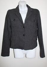 Zara Woman Medium Wool Blend Button Front Gray & Black Jacket Blazer Military