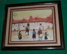 1983 NATIVE AMERICAN PIMA INDIAN ART PAINTING HOGAN ADOBE MELODY LIGHTFEATHER OA