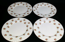 Royal Albert SET OF 4 DINNER PLATES in Forget-Me-Not Rose Pattern Bone China