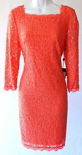 Adrianna Papell lace coral cocktail mother of the bride wedding guest dress